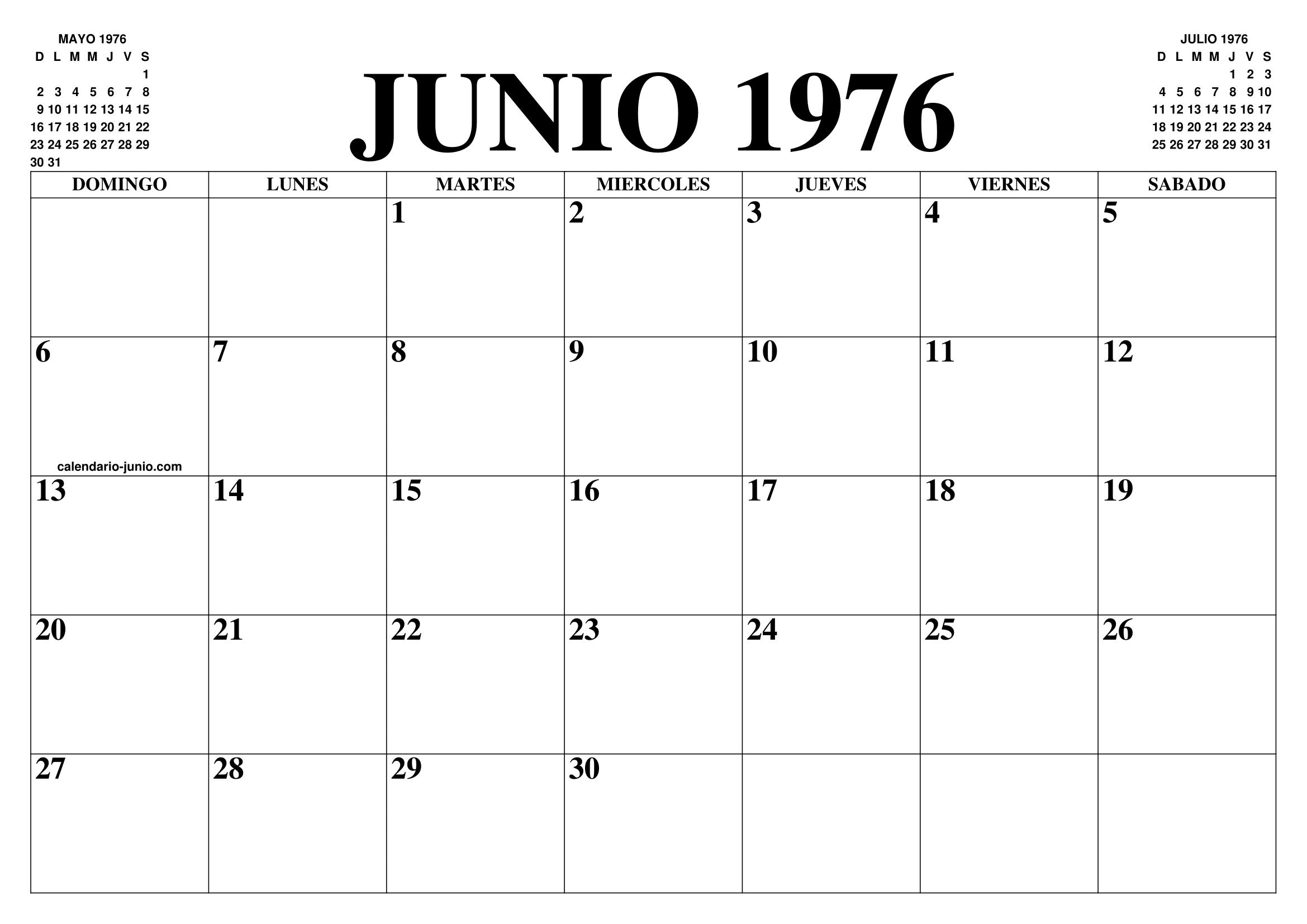 Calendario Julio 1976.Calendario Junio 1976 El Calendario Junio Para Imprimir