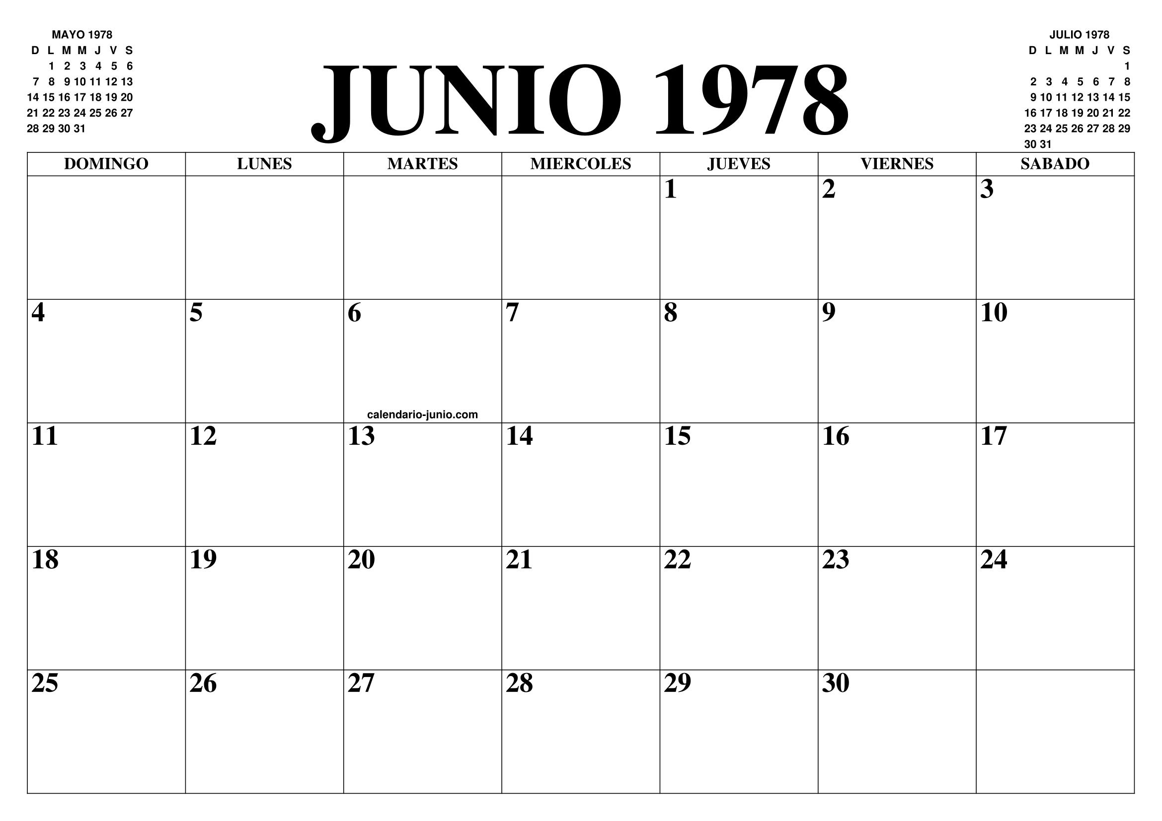 1978 Calendario.Calendario Junio 1978 El Calendario Junio Para Imprimir