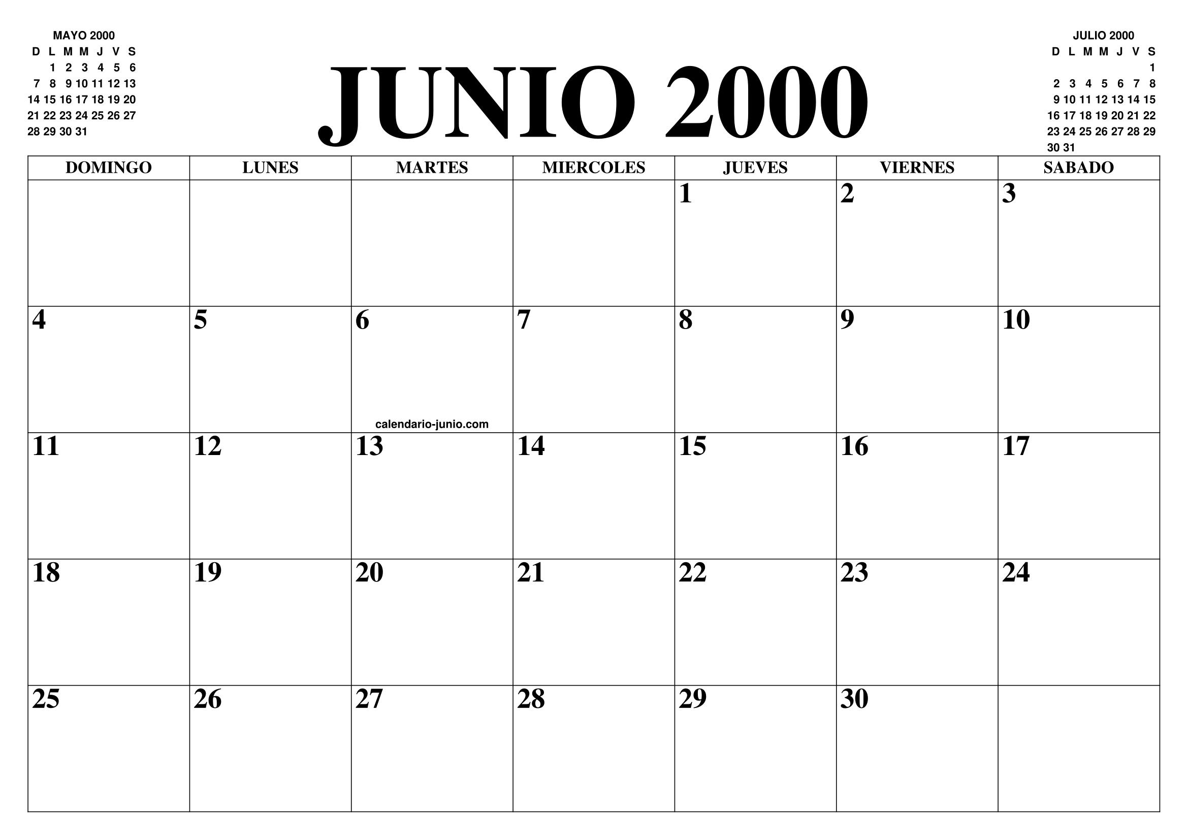 Calendario Del 2000.Calendario Junio 2000 El Calendario Junio Para Imprimir