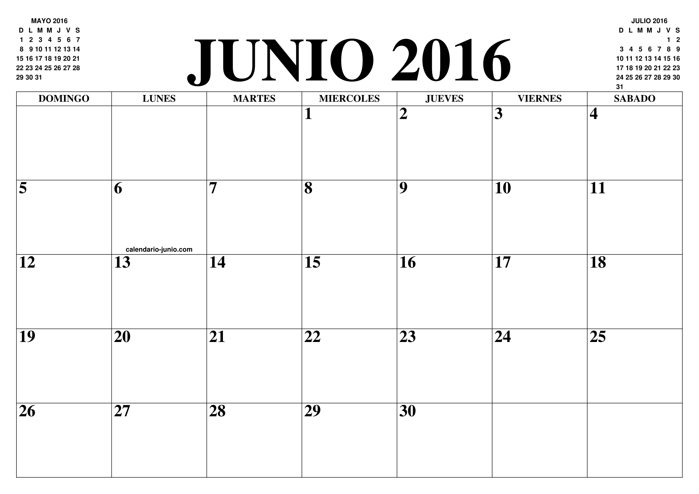 Calendario junio 2016 el calendario junio para imprimir for Calendario junio 2016 para imprimir